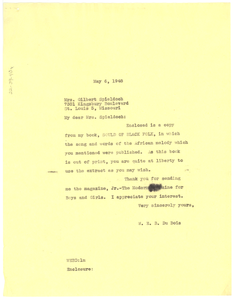 Letter from W. E. B. Du Bois to Mrs. Gilbert Spieldoch