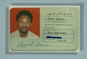 Member card for the World Community of Islam in the West issued to Ahmad Kausar