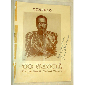 "Program for ""Othello"" signed by Paul Robeson"