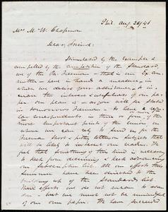 Letter from James Miller M'Kim, Phil[adelphia], [Penn.], to Maria Weston Chapman, Aug. 26/[18]46