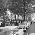 Civil rights demonstrators marching past Kelly Ingram Park during a protest in downtown Birmingham, Alabama.