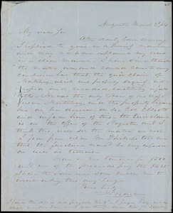 F. C. Barber, Augusta, Ga., autograph letter signed to [Ziba B. Oakes], 2 March 1854