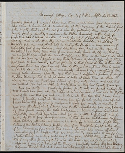 Letter from Richard Davis Webb, Drumnigh Cottage, County of Dublin, [Ireland], to Anne Warren Weston, September 29, 1856