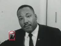 WSB-TV newsfilm clip of Dr. Martin Luther King, Jr. speaking about recent race riots in New York State as well as the 1964 presidential election, New York, New York, 1964 July 27