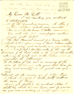 Letter from C. T. Adams to Augustus Granville Dill