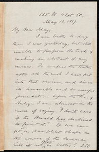 Letter from Oliver Johnson, [New York], to Samuel May, May 13, 1887
