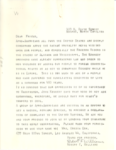 Circular letter from Robert F. Williams to W. E. B. Du Bois