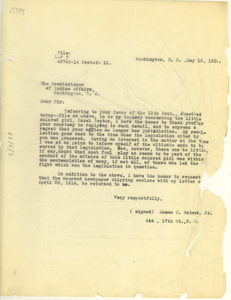 Letter from James C. Waters Jr. to the Commissioner of Indian Affairs