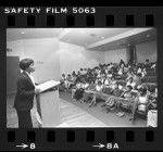 Maxine Waters addressing participants of the Afrodisia conference on black womanhood, Calif., 1977
