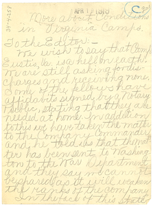 Letter from unidentified correspondent to Editor of the Crisis