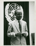 Prime Minister Julius K. Nyerere, of Tanganyika. United Nations, N.Y., 11 July 1961. Prime Minister Julius Kambarage Nyerere, of Tanganyika, photographed as he replied to one of the questions put to him during his meeting with accredited members of the Press at U.N. Headquarters earlier today