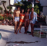 G. C. Cameron, Gwen Gordy Fuqua, and Suzanne De Passe by the pool, Los Angeles
