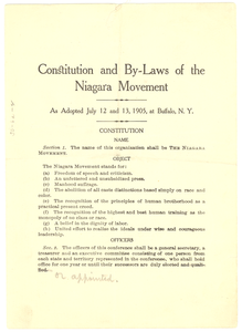Constitution and by-laws of the Niagara Movement as adopted July 12 and 13, 1905, at Buffalo, N.Y.