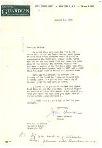 Letter from National Guardian to W. E. B. Du Bois