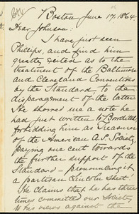 Letter from William Lloyd Garrison, Boston, [Mass.], to Oliver Johnson, June 17, 1864
