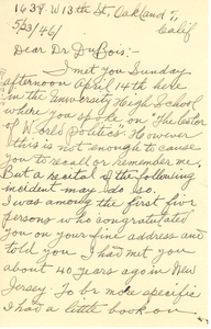 Letter from Samuel Barrett to W. E. B. Du Bois