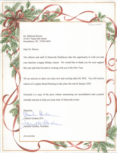 Letter from Charles Gordon and Joenelle Gordon to Millicent Brown, December 2002