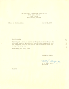 Circular letter from Montgomery Improvement Association to W. E. B. Du Bois