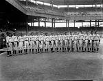 Black Brooklyn baseball team [on original envelope; probably the Royal Giants, at Griffith Stadium : acetate film photonegative], 1935