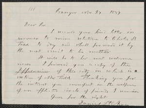 Daniel Stickney autograph letter signed to [Thomas Wentworth Higginson], Bangor [Maine], 24 November 1859