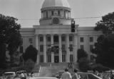 Helicopter flying in front of the Capitol in Montgomery, Alabama, during the takeover of radio station WAPX by Black Muslims.