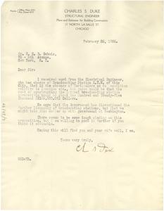 Letter from Charles S. Duke to W. E. B. Du Bois