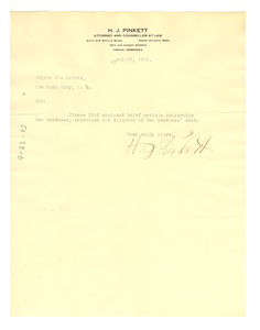 Letter from H. J. Pinkett to Editor of the Crisis