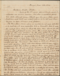 Letter from Asa Walker, Bangor, [Maine], to Amos Augustus Phelps, 1846 June 19th