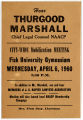 Advertisement for NAACP Mobilization Meeting at Fisk University Featuring a Speech by Thurgood Marshall