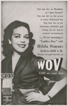 "Advertisement for morning radio program ""Ladies Day,"" hosted by Hilda Simms, on WOV, New York City, circa 1954"