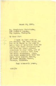 Letter from W. E. B. Du Bois to Monplaisir Christophe