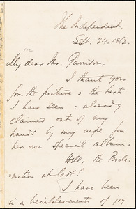 Letter from Theodore Tilton, [New York, New York], to William Lloyd Garrison, 1862 Sept[ember] 24
