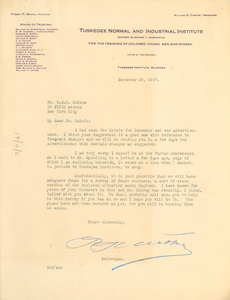 Letter from the Tuskegee Normal and Industrial Institute to W. E. B. Du Bois