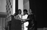 Three women speakers at a Black Talkies on Parade event, Los Angeles, 1985
