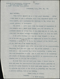 Baldwin, James Mark, 1861-1934 typed letter (copy) to J.Mc. K. Cattell, Princeton, N.J., 28 November 1903