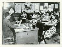 African American teacher in an integrated classroom, ca. 1952