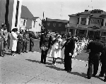Masons and members of the Order of the Eastern Star queued in street