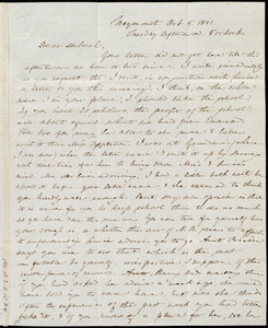 Letter from Anne Warren Weston, Weymouth, [Mass.], to Deborah Weston, Oct. 5, 1841. Tuesday afternoon. 5 o'clock