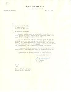 Letter from Fisk University to W. E. B. Du Bois