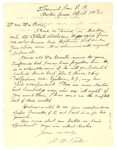 Letter from William Monroe Trotter to W. E. B. Du Bois