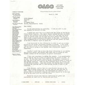 Letter, Citywide Educational Coalition, March 5, 1980.