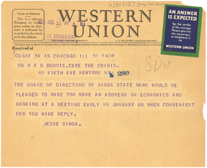 Telegram from Binga State Bank to W. E. B. Du Bois