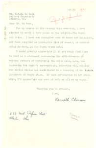 Letter from Kenneth Chernin to W. E. B. Du Bois