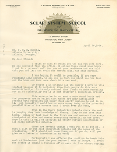 Letter from Christine Howell to W. E. B. Du Bois