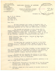 Letter from Maryland Council of Defense to W. E. B. Du Bois