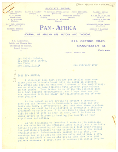 Letter from Pan African Federation to W. E. B. Du Bois
