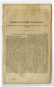 A letter to the Rev. Henry Ward Beecher : and an address to the legislature of the state of Missouri