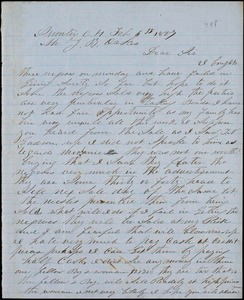A. J. McElveen, Sumter Court House, S.C., autograph note signed to Ziba B. Oakes, 6 February 1857