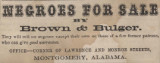 Advertisements for slave sales and insurance from Barrett & Wimbish's Alabama Almanac for 1857.