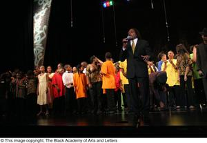 [Curtis King on Stage with Young Performers] Hip Hop Broadway: The Musical